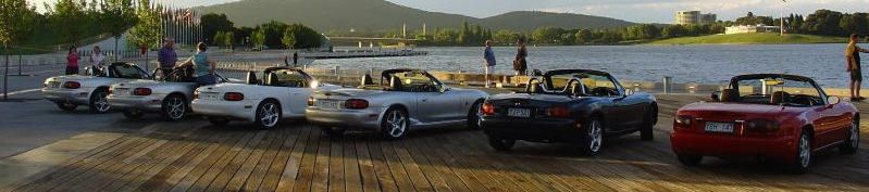 Canberra MX-5s at Lake Burley Griffin