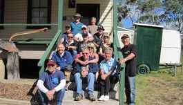 The Illawarra Chapter crew gathered on the steps of the old Nerriga School