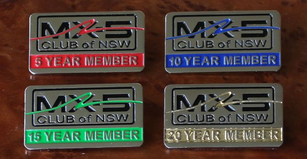 The new tenure badges for 5 year, 10 year, 15 year and 20 year members were unveiled at our 2013 AGM. Sponsored by ACDC.