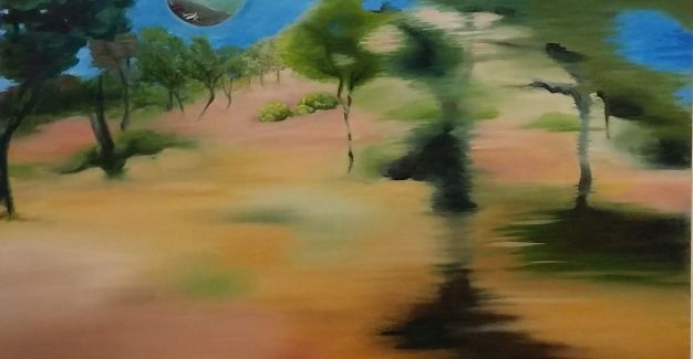 Kerry Shepherdson ZOOMING 2017 oil on canvas